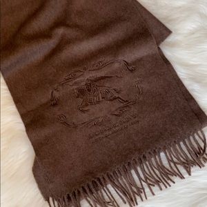 Burberry Cashmere Fringe Embroidered Large Scarf